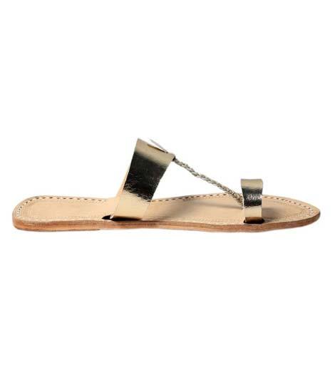Golden Leather Sandal For Ladies