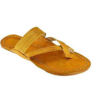 Attractive Cross Belt, Light Yellow Kolhapuri Leather Sandal For Men