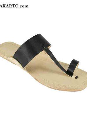 Black Belt Leather Sandal For Men