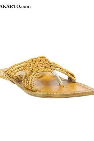 Light Yellow Maharaja Style Five Braided Cross Design Kolhapuri Chappal For Men