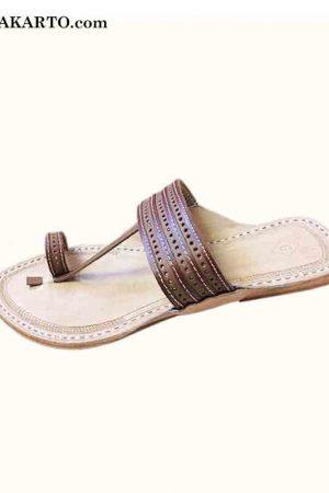 Good-Looking Punching And Lace Design Brown Kolhapuri For Men