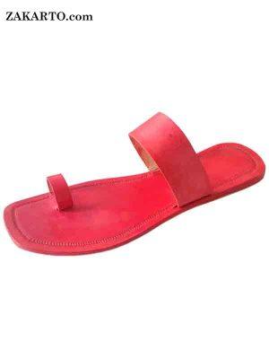Remarkable Red Toe Ring Style Men Kolhapuri Chappal