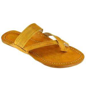 Attractive Cross Belt, Light Yellow Kolhapuri Leather Sandal For Women