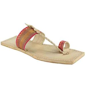 Unique And Authentic Pink Kolhapuri Chappal For Women
