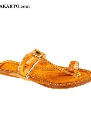 Double Eye, Dark Yelow Handmade Leather Sandal For Women