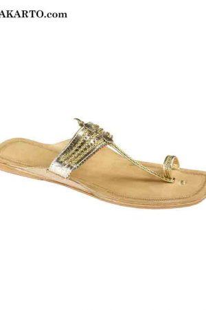 Golden Handcraftd Leather Sandal For Women