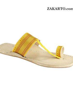 Attractive Yellow Jari Authentic Kolhapuri Chappal For Women