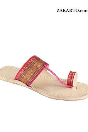 Attractive Pink Jari Upper Authentic Kolhapuri Chappal For Women