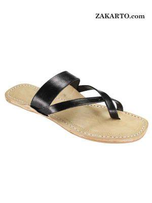 Black Cross Belt Handmade Leather Sandal For Women