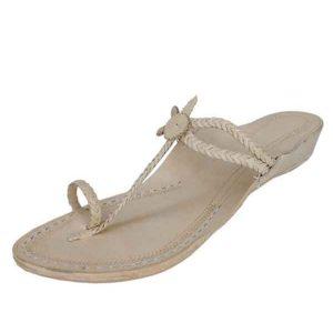 Natural Platform Heel Double Eye Design Ladies Kolhapuri Chappal
