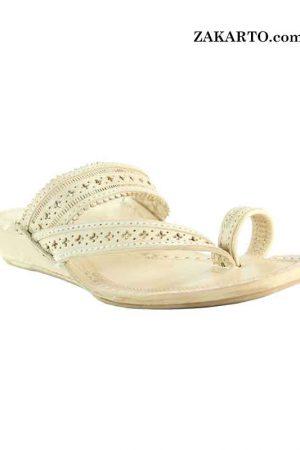 Natural Platform Heel Punching Design Side Lace Kolhapuri Chappal