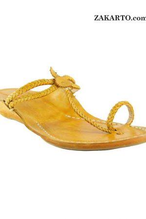 Light Yellow Platform Heel Double Eye Design Ladies Kolhapuri Chappal