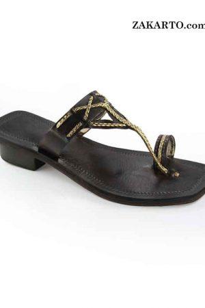 Gorgeous Black And Golden High Heel Designer'S Kolhapuri For Women