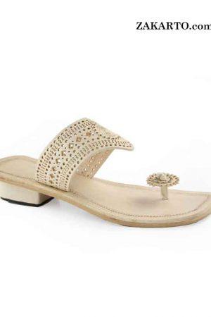 Good Looking High Heel Natural Kolhapuri For Women