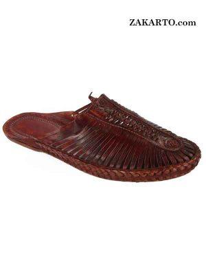 Outstanding Cherry Red Men Kolhapuri Half Shoe