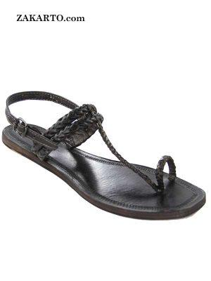 Black Flat Heel Double Braids Ladies Kolhapuri Chappal