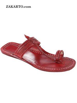 Remarkable Cherry Red Ladies Flat Heel Kolhapuri Chappal