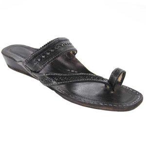 Platform Heel, Black Side Belt Ladies Kolhapuri Chappal