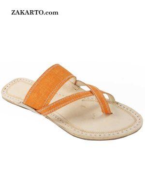 Fine-Looking Orange Cross Belt Kolhapuri Chappal For Women
