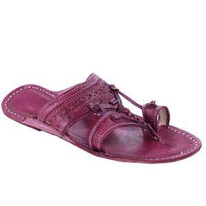 Old-Fashioned Beautiful Purple Kolhapuri Chappal For Men