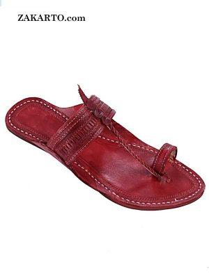 Genuine Good Looking Cherry Red Kolhapuri Chappal For Men