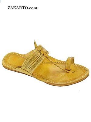 Genuine Good Looking Yellow Punching Kolhapuri Chappal For Men