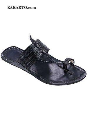 Attractive Black Straight Upper Kolhapuri Chappal For Men