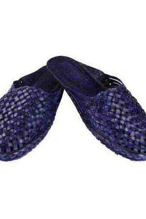 Gorgeous Mat Design Dark Blue Half Kolahpuri Shoe For Women