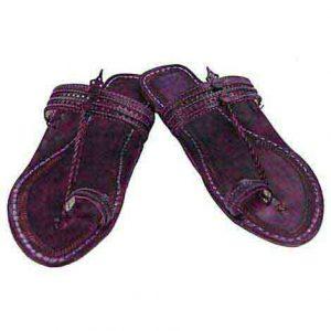 Breathtaking Purple Flat Heel Punching Design Ladies Kolhapuri Chappal