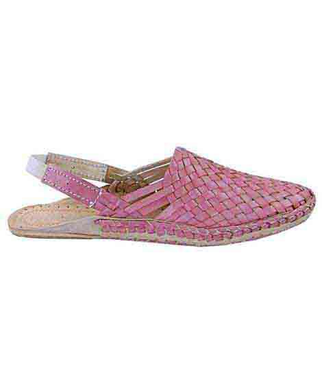 Striking Baby Pink Mat Design Back Strip Ladies Kolhapuri Half Shoe