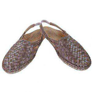 Overwhelming Light Brown Mat Design Back Strip Ladies Kolhapuri Half Shoe