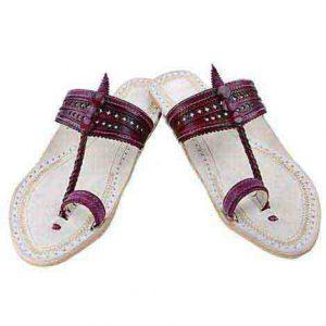 Lovely Looking Purple Punching Upper Ladies Kolhapuri Chappal