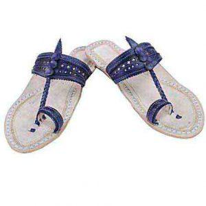 Good-Looking Dark Blue Flat Heel Ladies Chappal