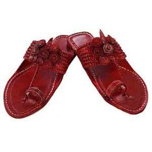 Breathtaking Seven Braids Cherry Red Flat Heel Kolhapuri Chappal For Women