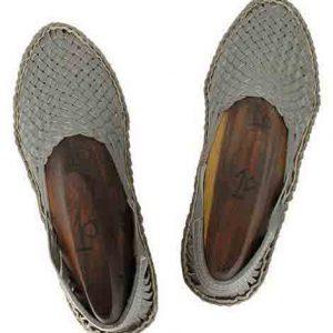 Awesome Grey Mat Style Kolhapuri Full Shoe