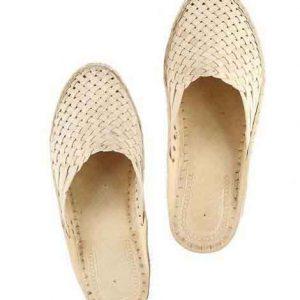 Beautiful Natural Mat Style Kolhapuri Half Shoe