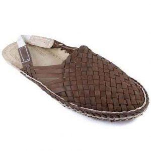 Charming Light Brown Mat Style Back Belt Kolhapuri Half Shoe For Men