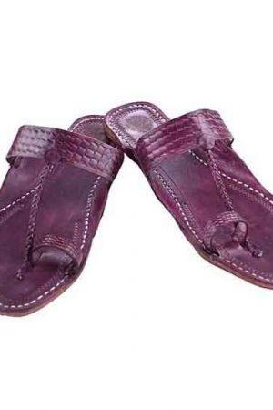 Antiqua Design Purple Pointed Kolhapuri Gents Chappal