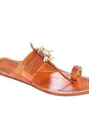 Designer'S Royal Look Tan Color Fine Braids Men Kolhapuri Chappal