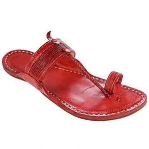 Elegant Cheery Red Color Fine Braided Upper Kapshi Kolhapuri Chappal For Men