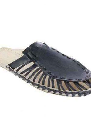 Magnificent Dull Blue Upper Kolhapuri Half Shoe