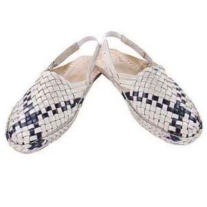 Wonderful Designer'S Black Cross Laces Mat Style Women Kolhapuri Half Shoe