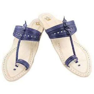 Salient Look Dark Blue Platform Heel Ladies Kolhapuri Chappal