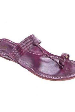Calm Look Purple Embossing Design Ladies Chappal