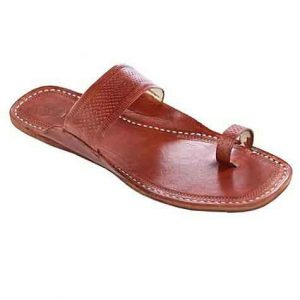 Awesome Red Brown Embossed Straight Belt Kolhapuri Chappal For Women
