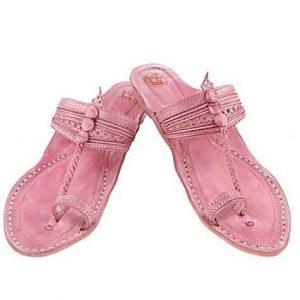 Good-Looking Baby Pink Fine Braids And Punching Platform Heel Ladies Kolhapuri Chappal