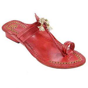 Outstanding Designer'S High Heel Cherry Red Fine Braids Golden Rivets Ladies Kolhapuri Chappal