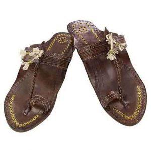 Delightful Designer'S High Heel Brown Fine Braids Golden Rivets Ladies Kolhapuri Chappal