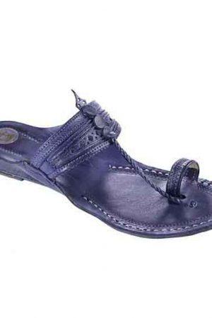 Attractive Dark Blue Fine Braids And Punching Platform Heel Ladies Kolhapuri Chappal
