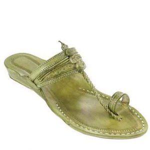 Attractive Seaweed Fine Braids And Punching Platform Heel Ladies Kolhapuri Chappal